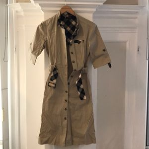 Tahari Burberry style khaki trench dress